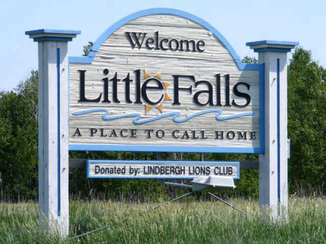 Welcome sign for City of Little Falls, MN